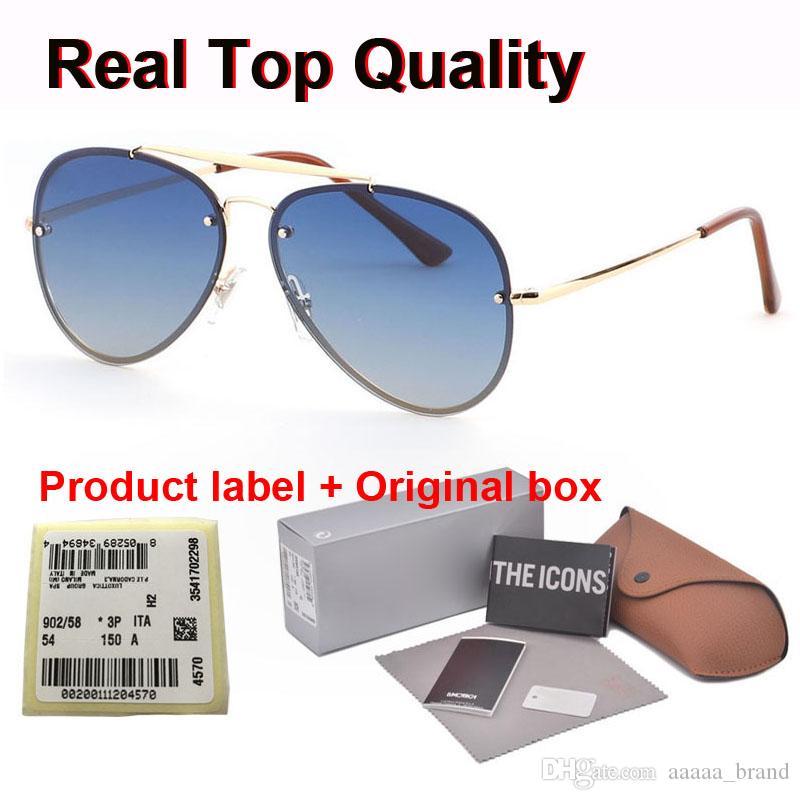 1 Adet toptan - Yüksek kaliteli marka tasarımcı degrade Rimless Perakende kutusu ve laboratuvarı ile óculos De Sol gözlük erkekler kadınlar güneş gözlüğü güneş gözlüğü