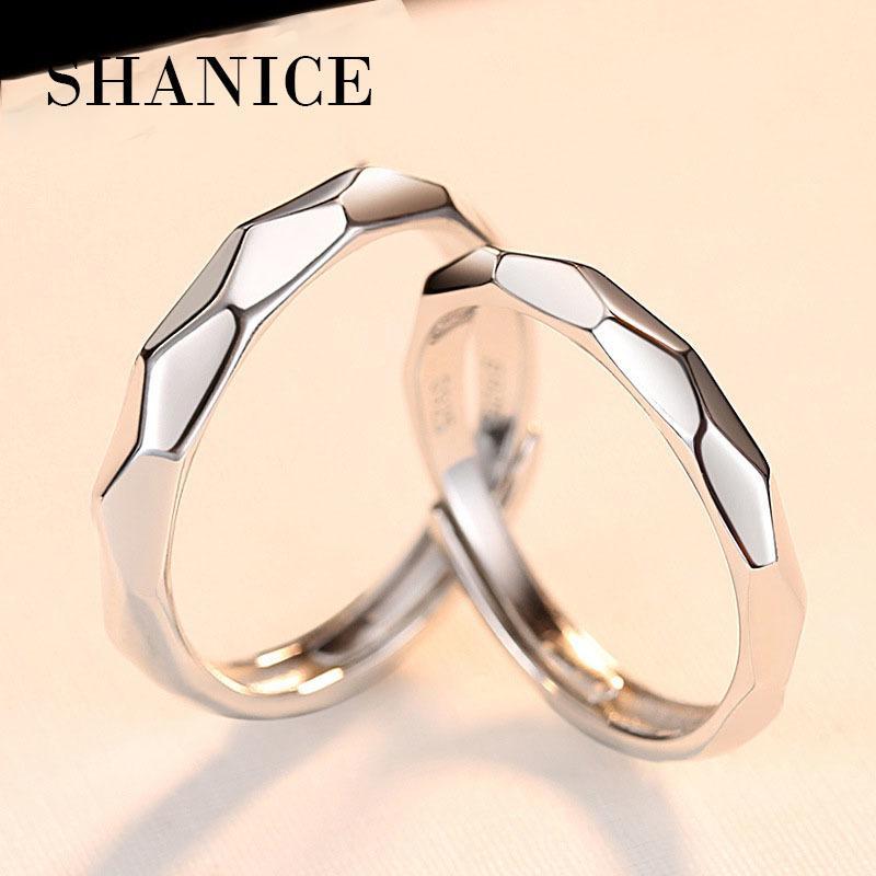 Shanice Novas original de 100% naturais Anéis 925 do casamento de prata para homens e mulheres casal 0.5Ct CZ anéis de noivado Set Amantes por