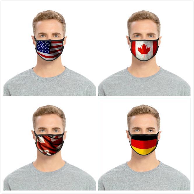 Amerikan Bayrağı Amerikan Bağımsızlık Günü toz geçirmez Moda Baskı Buz İpek tasarımcı yüz maskeleri Kumaş yıkanabilir Pamuk yüz maskesi