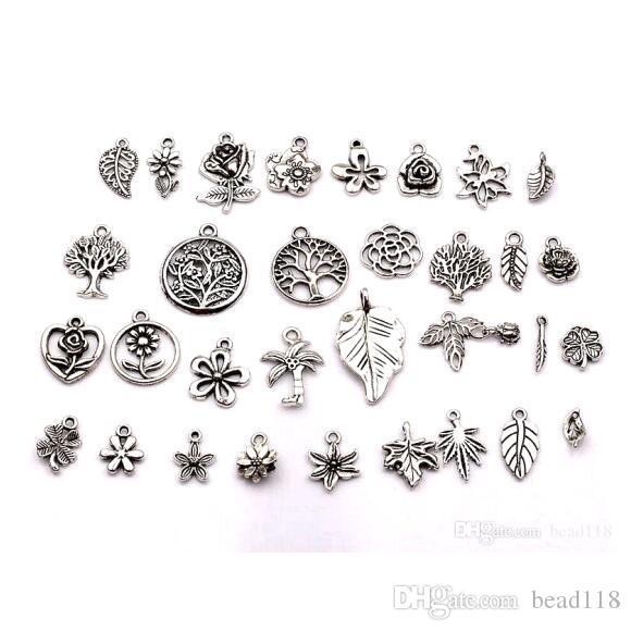 6 Castle charms antique silver tone P16
