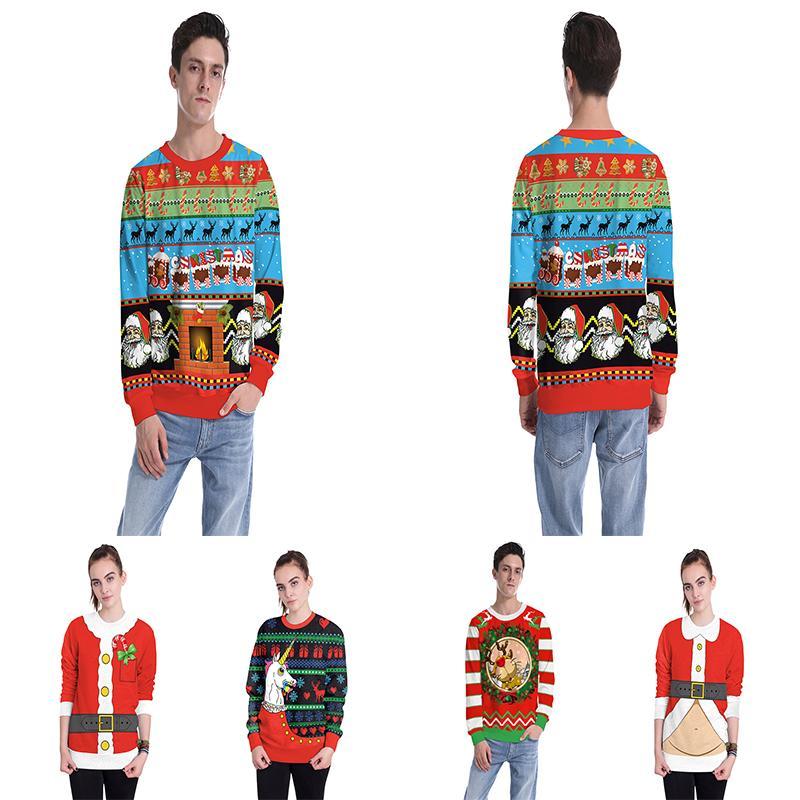 Weihnachten Hoodies Weihnachtsbaum Santa Clus Socken langärmelige Bluse Pullover lässig Pullover bedruckt Herrenbekleidung ZY181130W