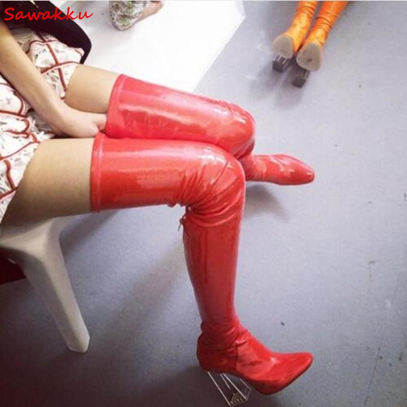 A metà coscia partito PVC Moda a lungo Stivali da donna in pelle verniciata sopra il ginocchio stivali cristallo trasparente tacco alto scarpe da donna