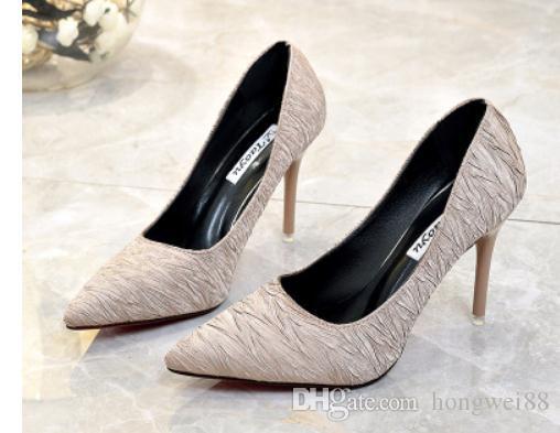 2019 Chaussures femmes au printemps et à l'automne avec nouveau style talon haut talon pointu côté fin 4015 Suede @