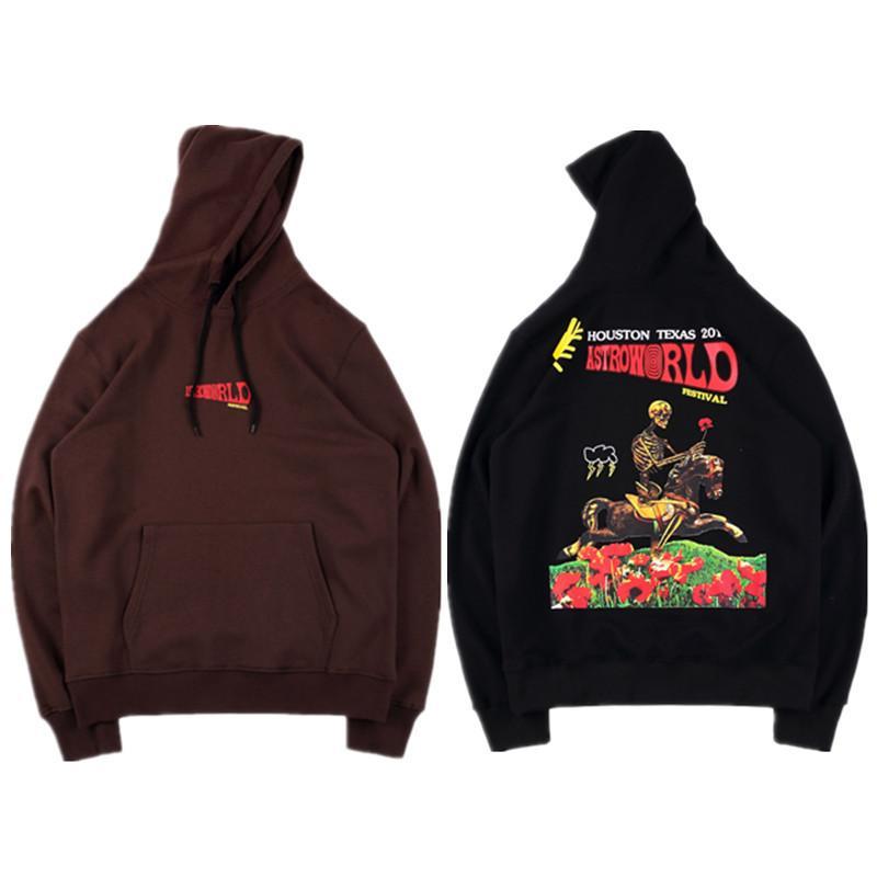 Travis Scott Astroworld Festival Hoodies Herren Bekleidung Buchstabe gedruckten beiläufigen Männer Langarm Farbe Kaffee Designer Sweatshirts