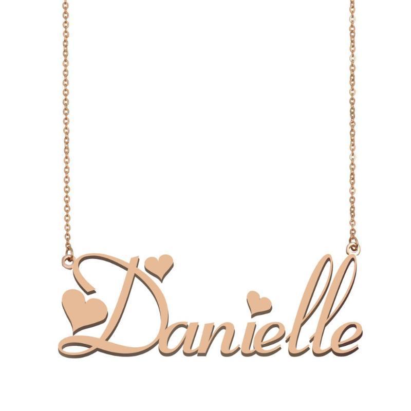 Danielle Colar conhecida, colar nome personalizado para Mulheres Meninas dos melhores amigos presente de Natal Dias Mãe aniversário de casamento