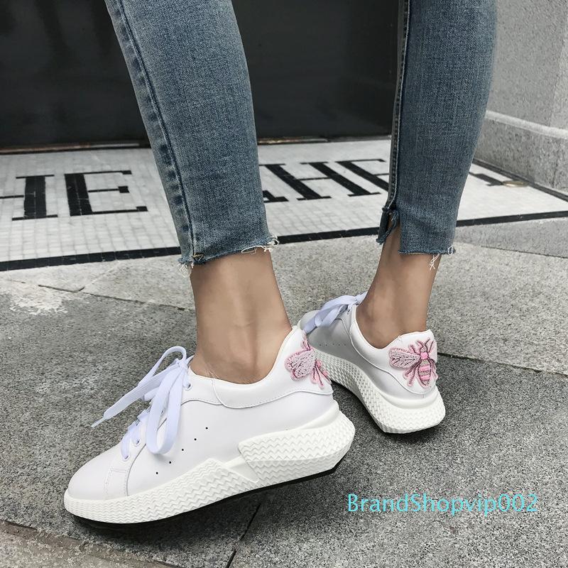 Fairy2019 blanc petite femme Joker à fond plat Skate ELEVE pédale Chaussures motif papillon