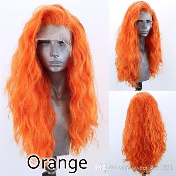 싸구려 14-26 인치 자연 물결 모양 오렌지 롱 웨이브 가발 믹스 합성 레이스 프런트 가발 내열성 섬유 헤어 코스프레 가발 10 색 선택
