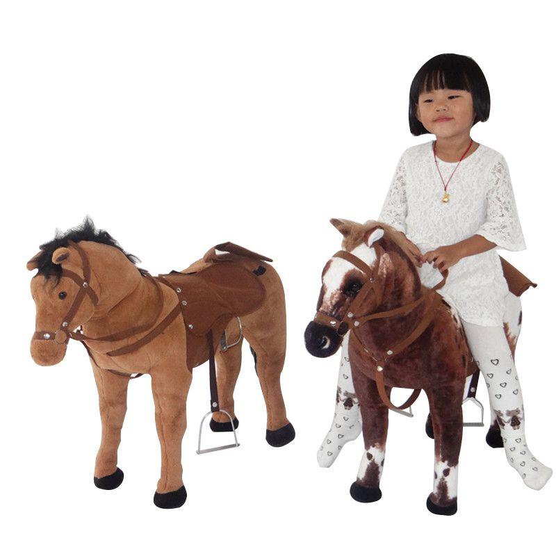 Dorimytrader 80cm محاكاة الحيوان ركوب الخيل القطيفة لعبة كبيرة محشوة حيوانات ناعمة الحصان للأطفال هدية عظيمة 3 ألوان DY60967