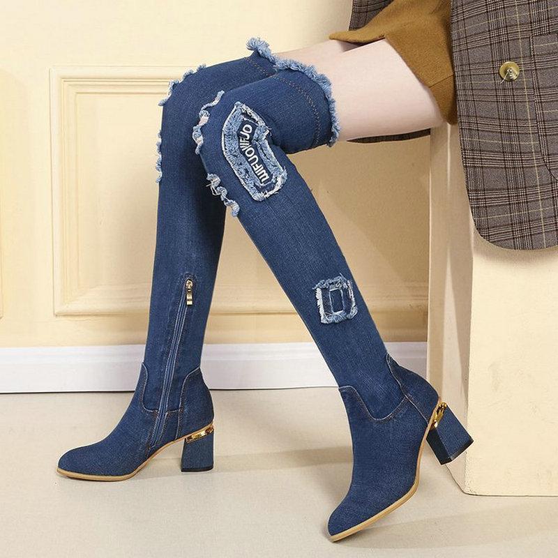 Women over knee zipper Boots Women Thigh High Boots Square Heel denim jean boot ladies shoes A62-11