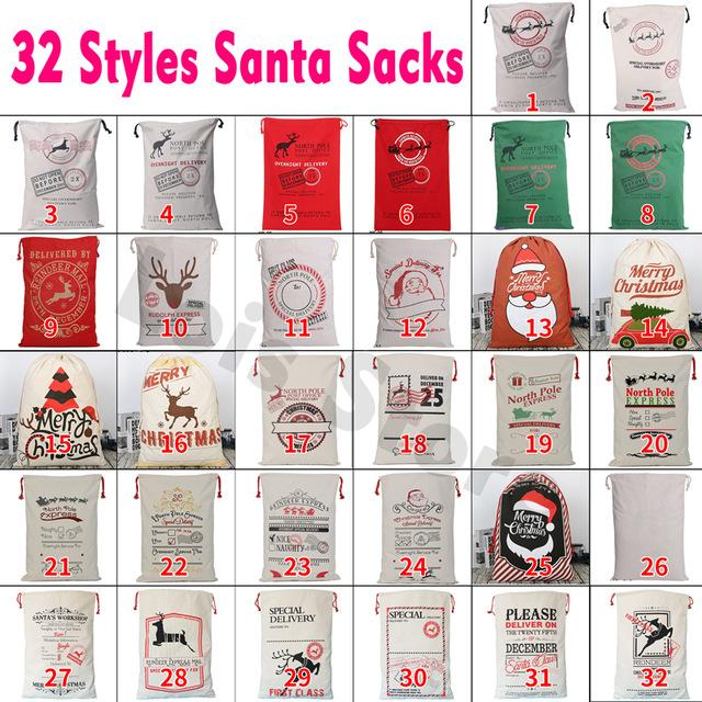 Livraison rapide 100pcs / lot Père Noël sacs de Noël Sacs cadeaux Grand sac fourre-tout à cordonnet de bas de canne de sucrerie Ficelle rouge Père Noël Sac