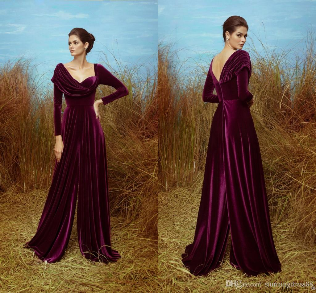 2021 Modern Velvet Evening Mother of the Bride Jumpsuits Pantsuits Dress Long Sleeves Ruched Neck Cheap Celebrity Prom Dress Long Cheap