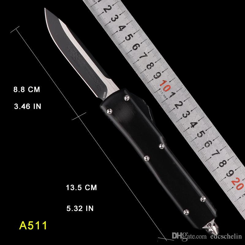 Faca automática micro utx 85 70 facas tático faca de acampamento facas de caça facas de bolso de combate D2 lâmina de aço alça de alumínio homem presente