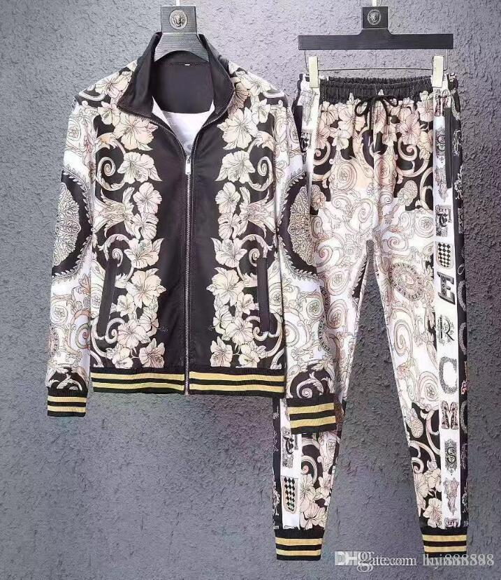 Uomini Sportswear con cappuccio e felpe nero Autunno Inverno Jogger Sporting abito da uomo di sudore Tute Tute Set Plus Size M-3XL # 053