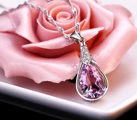 WholesaleHypoallergenic не увядает (без цепи) 925 серебряного ожерелья кулона аметиста CZ корейских женских моделей Желающих камень подвески