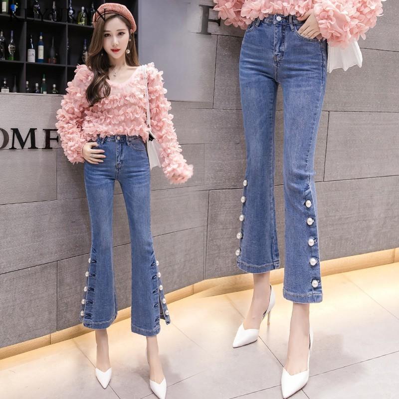 2020 İlkbahar Yaz Yeni Moda Yüksek Waisted İnciler Boncuklu Bayan Denim Pantolon İnce Stretch Bölünmüş Jeans Trompet Pantolon XXL L2970 T200423