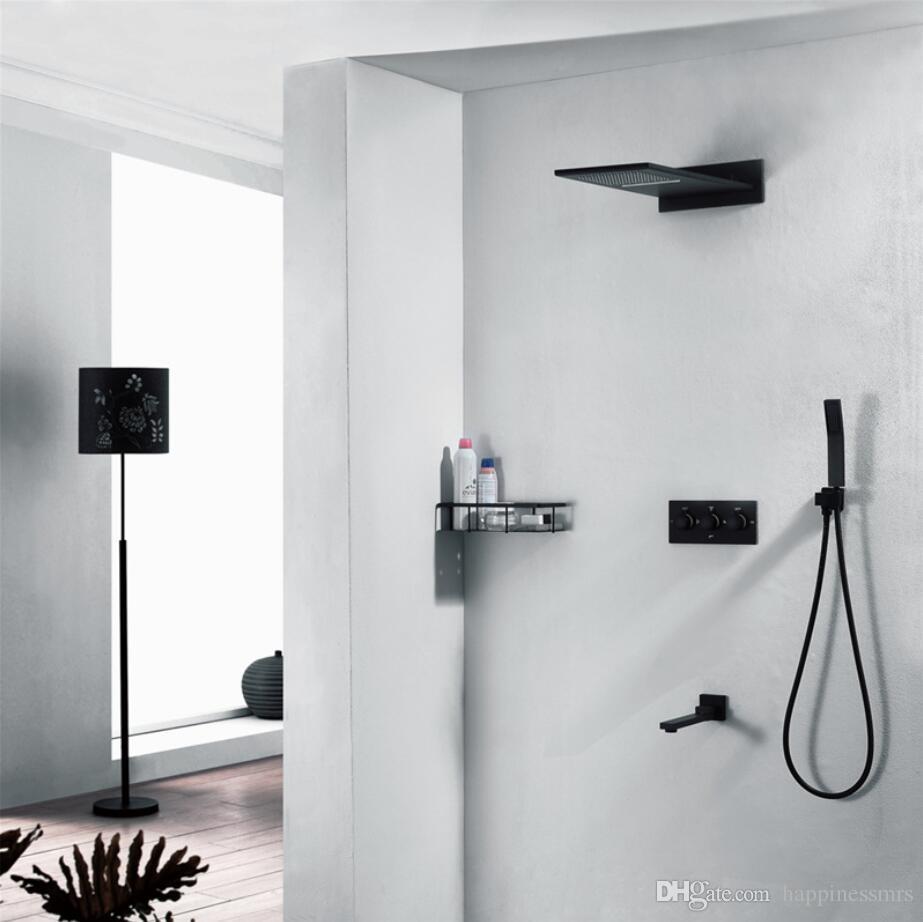 Großhandel Großhandel Luxus 12 Funktion Duschpaneel Mit Wasserfall Duschkopf  Badezimmer Zubehör 3012ss Regen Dusche Wasserhahn Set Schwarze Dusche Von