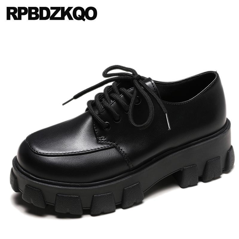 وربط الحذاء حتى الأحذية وحيد سميكة الصين المتناثرة النساء منصة الزواحف الأوروبي براءات الاختراع والجلود جولة اصبع القدم المصاعد الأسود الكعك