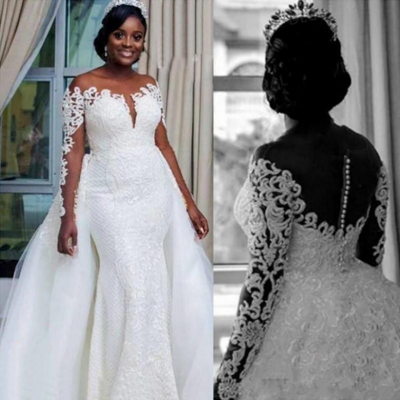 Plus Size Mermaid Brautkleider mit abnehmbarem Zug Sheer-Ausschnitt Langarm-afrikanische Spitze Applique Brautkleider vestido de novia