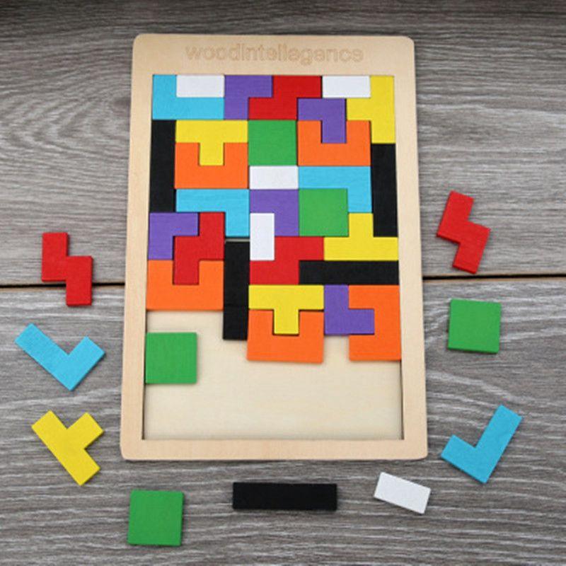 Colorido enigma brinquedos de madeira Tangram Brain Teaser Brinquedos Tetris Jogo pré-escolar Magi-Nation Intelectual Brinquedos Educativos presente Kid