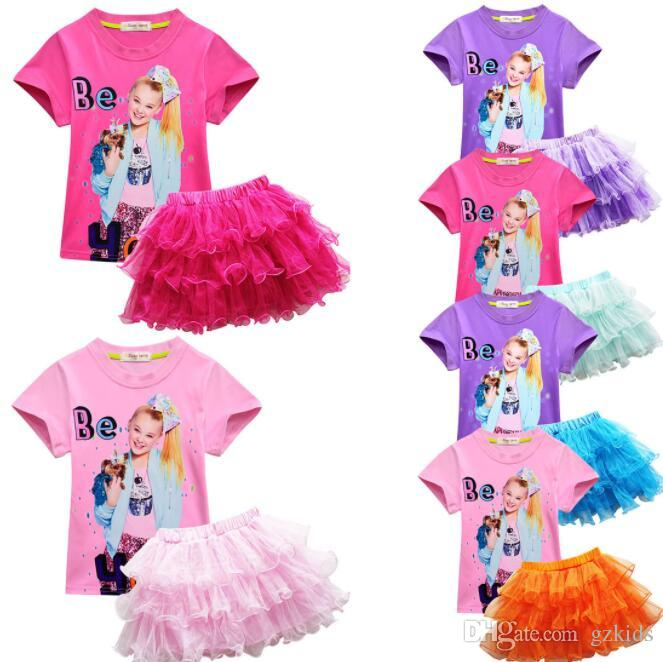 JoJo Siwa Suit Girl Short Sleeve Pompon Skirt Two piece Suit Factory Direct Selling free shipping