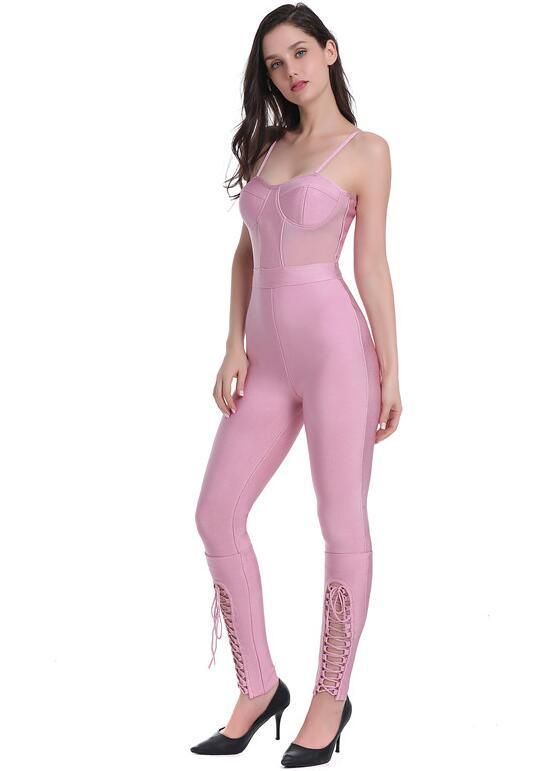 High Quality Women Sexy Lacing Thick Rayon Pink Bandage Jumpsuit Women 2019 Bodycon Knitted Slim Fashion Jumpsuit