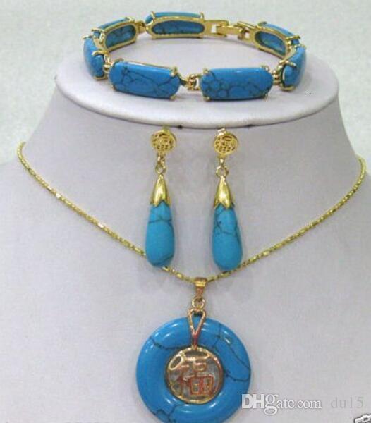 Prett Wedding Beautiful Blue gem stone Link Pulsera / Pendientes / Juego de colgante