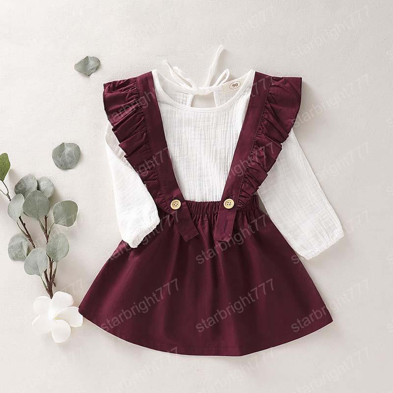 Рубашки 2PCS Baby Girl льняные юбки подвески множество малышей девушки с длинным рукавом Ruffled платье Одежда Нижнее Комплект одежды