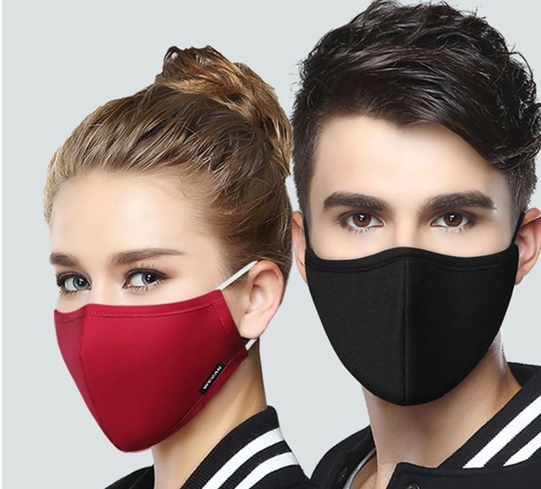 Algodón Negro Máscara de la boca de la mascarilla anti polvo PM2.5 con 2pcs Filtro de carbón activado estilo coreano máscara facial Tela