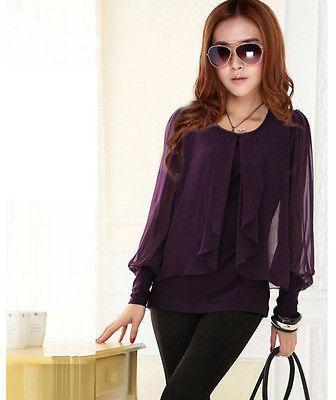 새로운 여자의 긴 소매 크루 넥 캐주얼 얇은 쉬폰 블라우스 최고 Flouncing 셔츠