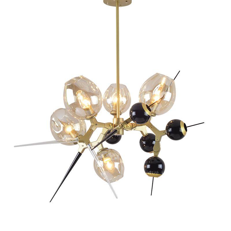 Bolas de vidrio araña Personalidad Comedor Sala de estar Candelabros de oro Dormitorio moderno con luces de cristal creativas