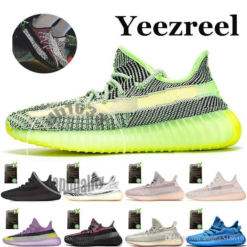 Kanye West Designer Chaussures Femmes Hommes Baskets Yeezreel Yeshaya réfléchissant Yecheil Bleu Noir Angle Zebra Sports Chaussures de course Taille 36-48