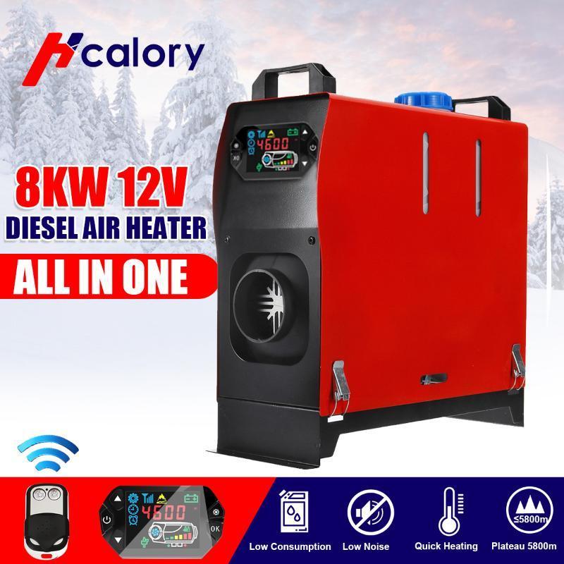 En la herramienta de calentamiento Una Unidad 1-8KW 12V coche diesel calentador de aire orificio de LCD Monitor Aparcamiento Calentador del coche camión de autobús Barco RV