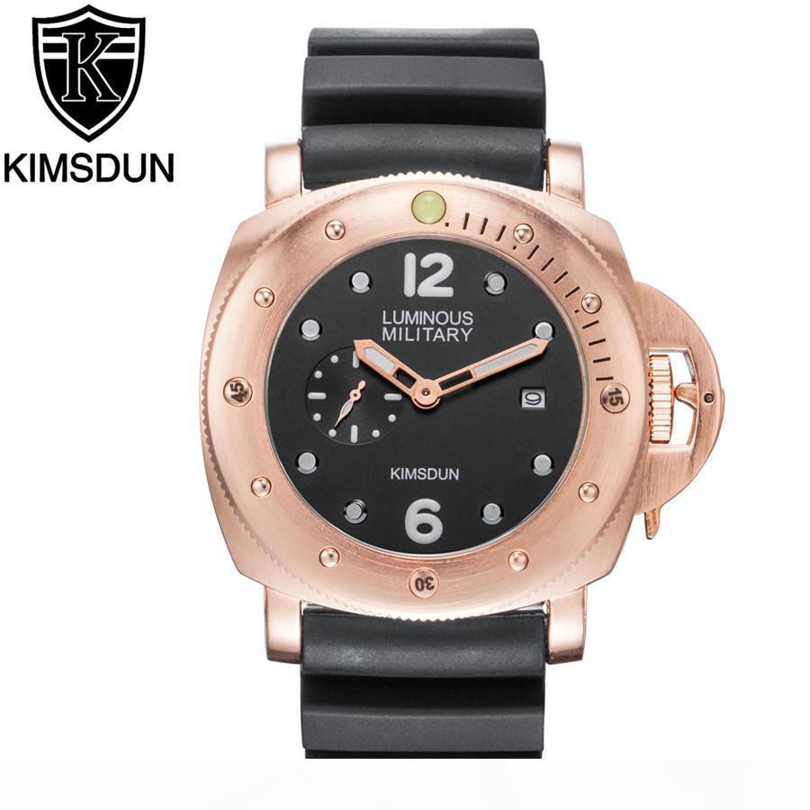 2019 верхней KIMSDUN мода каучуковый ремешок кварцевые мужские часы свободного покроя бизнес мужской наручные часы Монтре Homme