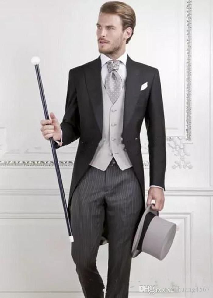 Nuovo ultimo disegno One Button Groom Morning Abiti Groomsmen Uomo Matrimonio Blazer Abiti Frac (giacca + pantaloni + vest + cravatta) 1201