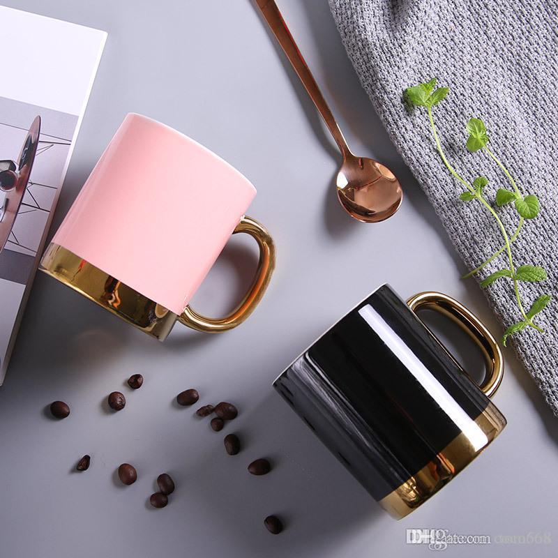Kreative Keramik-Becher Nordic Einfache Kaffeetasse mit Griff Gold Paar Becher nach Maß neue