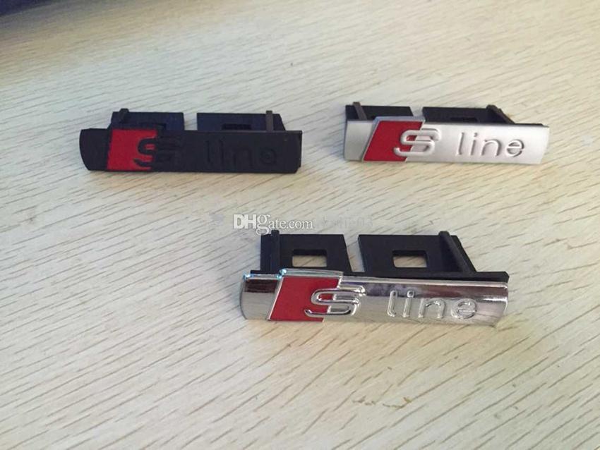 자동차 스타일링 S 라인 슬라 인 프론트 그릴 엠블럼 배지 크롬 플라스틱 ABS-프론트 그릴 마운트 아우디 A1 A3 A4 A4L A5 A6L S3 S6 Q5 Q7 라벨