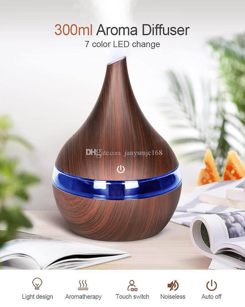 Арома диффузор Увлажнитель воздуха очиститель 300мл Wood Grain машина Мини Креативный Electric Air Luminous Бытовая 5V USB