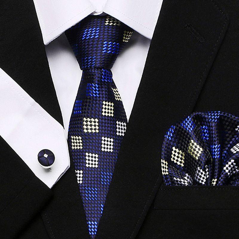 2019 azul a cuadros de los hombres del grupo de unión 100% Conjuntos de seda jacquard tejida corbata pañuelo de las mancuernas para la boda formal del partido de negocios