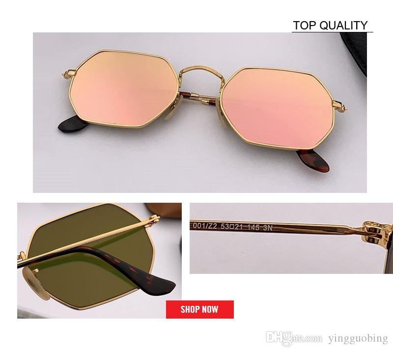 Occhiali da sole a lente piatta esagonale Occhiali da sole da donna Designer di marca Quadrati Piccoli occhiali da sole Uomo Montatura in metallo Guida Pesca Pesca Occhiali da sole rd3556 gafas Donna