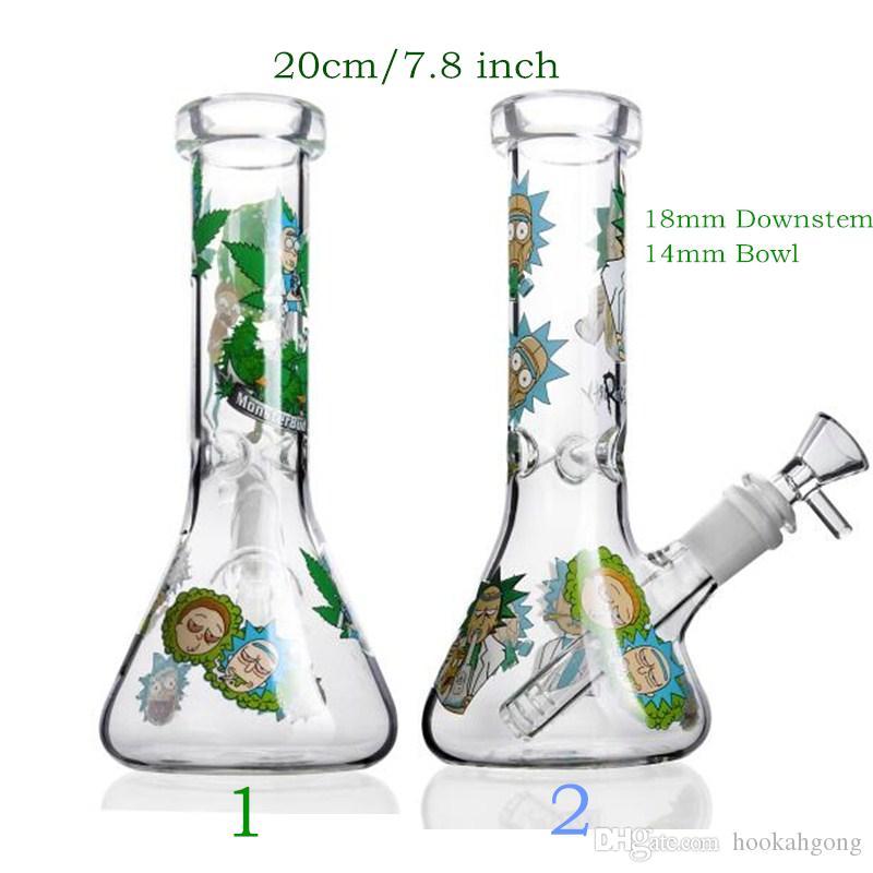 Bunte 7,8-Zoll-Karikatur-Aufkleber, Glas, Wasser Bongs Gerade Glas Wasser-Rohre mit 18mm Downstem 14mm Bowl