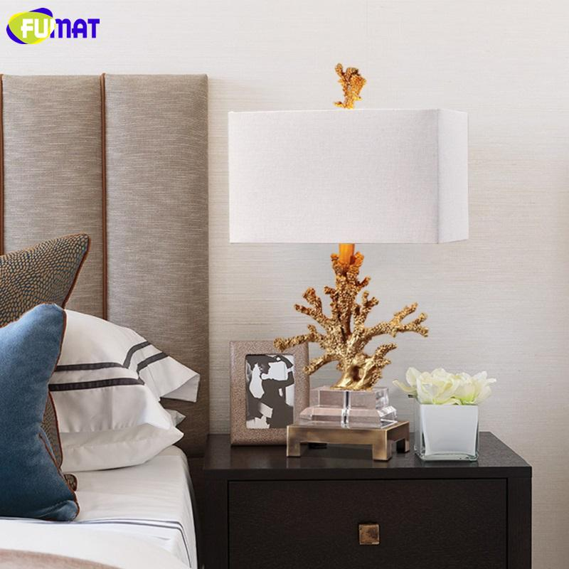 FUMAT Crystal Base Coralline Frame Table Lamps Luxury Gold Desk Light LED E27 E26 Brief Modern Lighting European American Style