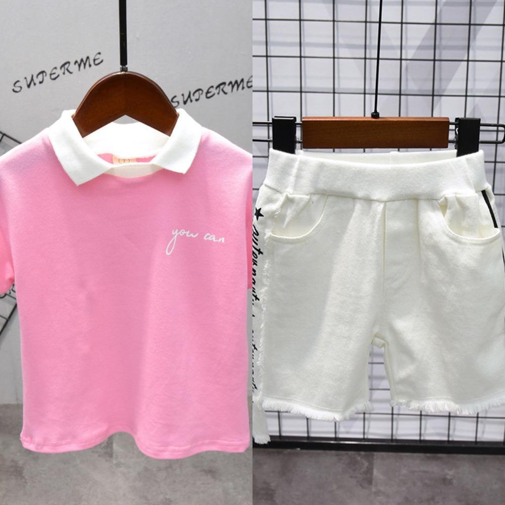 erkekler ve kızlar moda bebek pembe yarım d ceket tişört kol klip kol klip D1515 için kısa d tişört