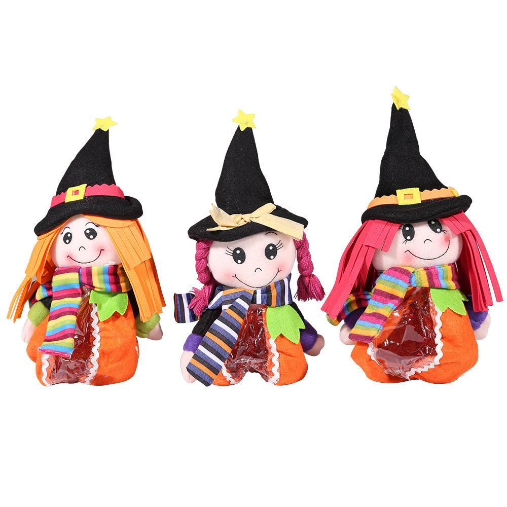 Cute Christmas Halloween Decorations Doll Girl Witch Candy Gift Bags Ornament Children's Toy Christmas Party Decoration for Home