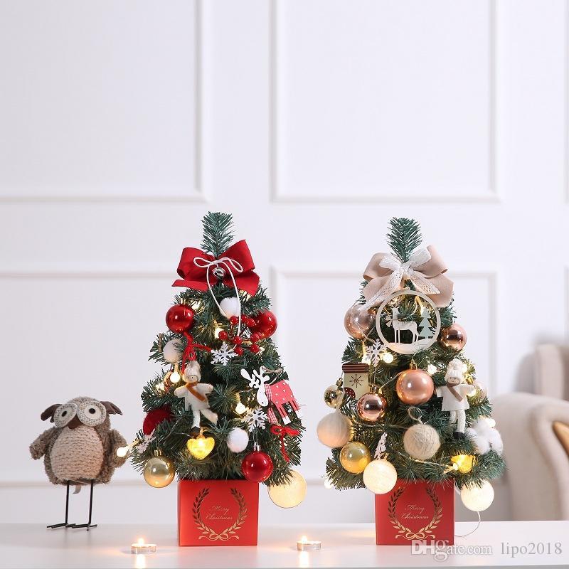 مصغرة شجرة عيد الميلاد مع مجموعة أضواء عيد الميلاد مجموعة شجرة
