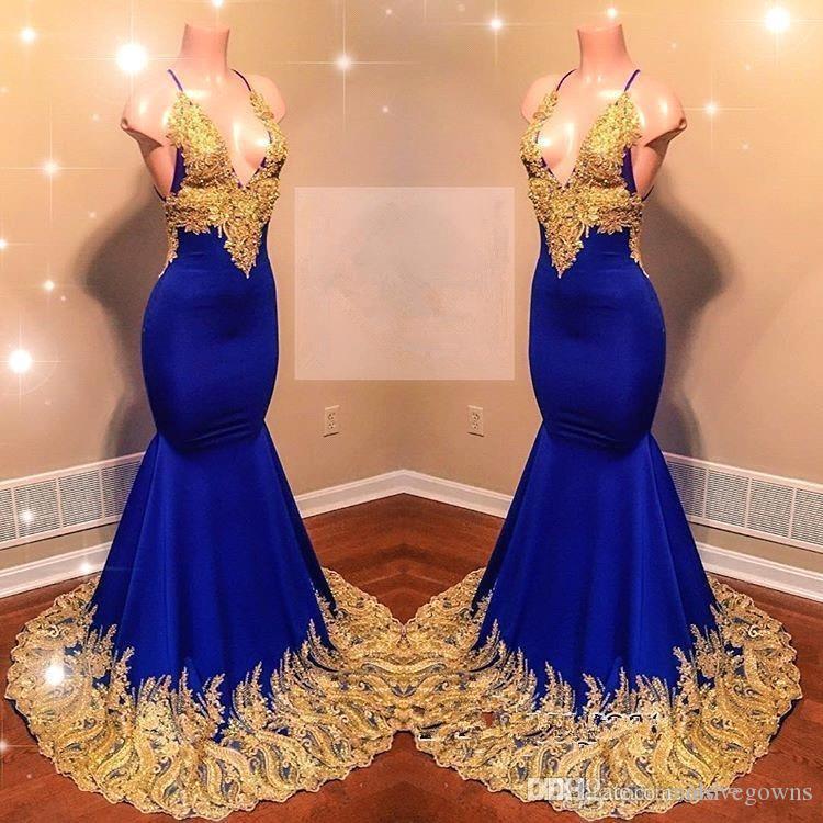 2019 bretelles spaghettis or sirène robes de bal longues robe de soirée bleue royale en dentelle appliques dos nu balayage train robes de soirée