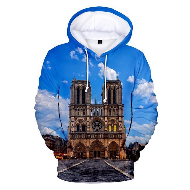 Notre Dame de Paris Hommes Hoodies 3D Imprimé Tops Hommes O Cou Lâche Shirts Femmes de causalité vêtements