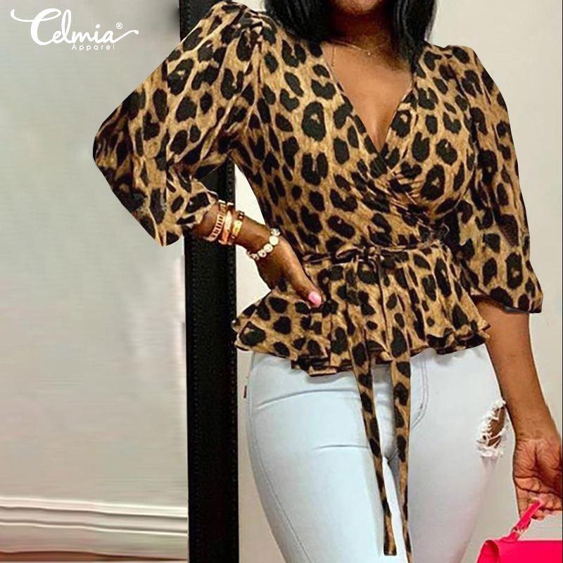Tops Shirt Plus Size Print V Neck 3//4 Sleeve Loose Women Leopard Blouse