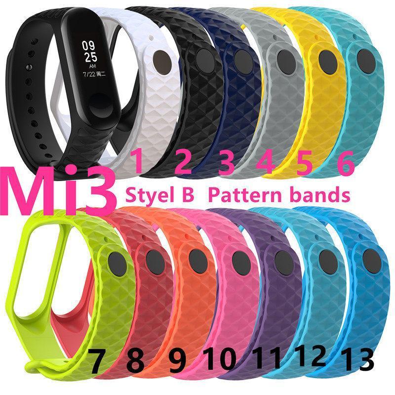 Для Xiaomi Mi полосы 3 Силиконовый браслет ремни часы группы браслет Замена ремешка M3 Фитнес Tracker Аксессуары Браслет smonthy / шаблон
