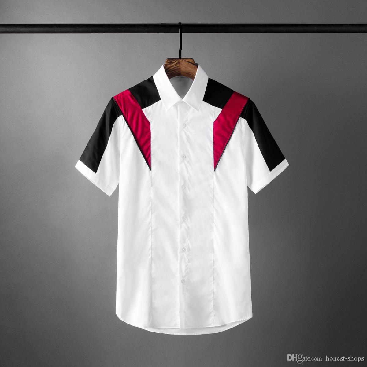 New Contraste Mens Cor camisas de luxo de manga curta emenda Casual Mens camisas de vestido de moda Slim Fit homem de partido Shirts