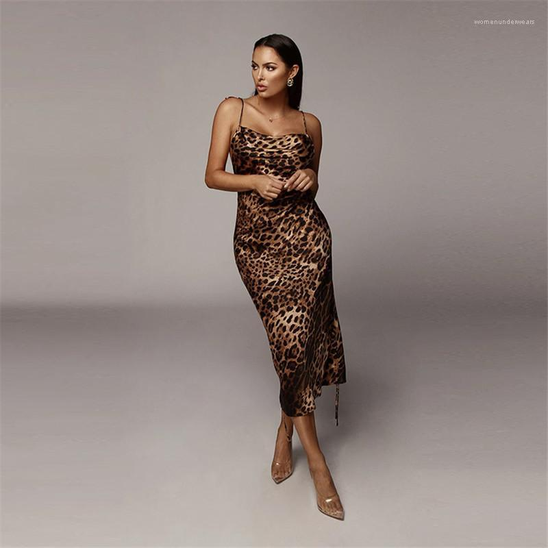 Printed Dresses Sexy Sleeveless Backless Dresses Casual Lace-Up Midi Dresses Fashion Female Clothing Womens Designer Leopard
